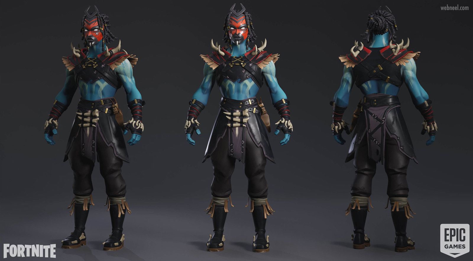 3d game character tribal man