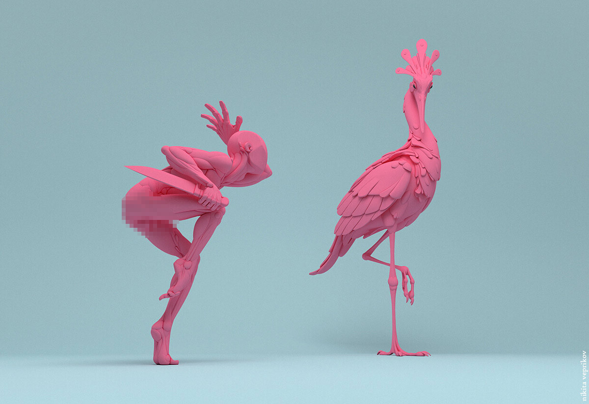 3d model character man bird kill by nikita veprika