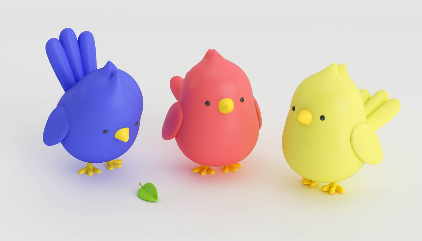 funny 3d cartoon character birds