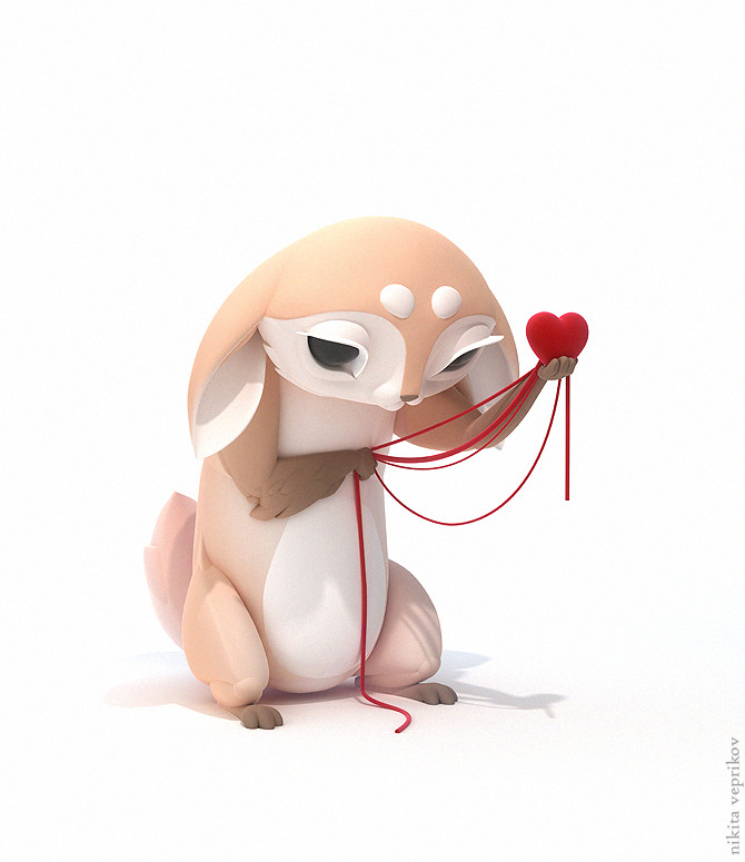 3d model character love valentine by nikita veprika
