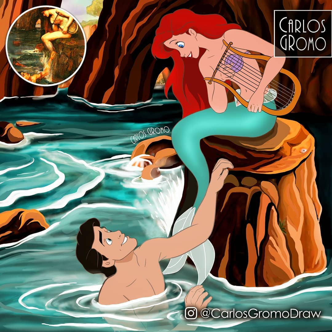 famous painting disney character little mermaid harp