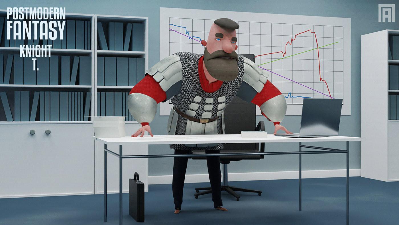 funny cartoon 3d model man