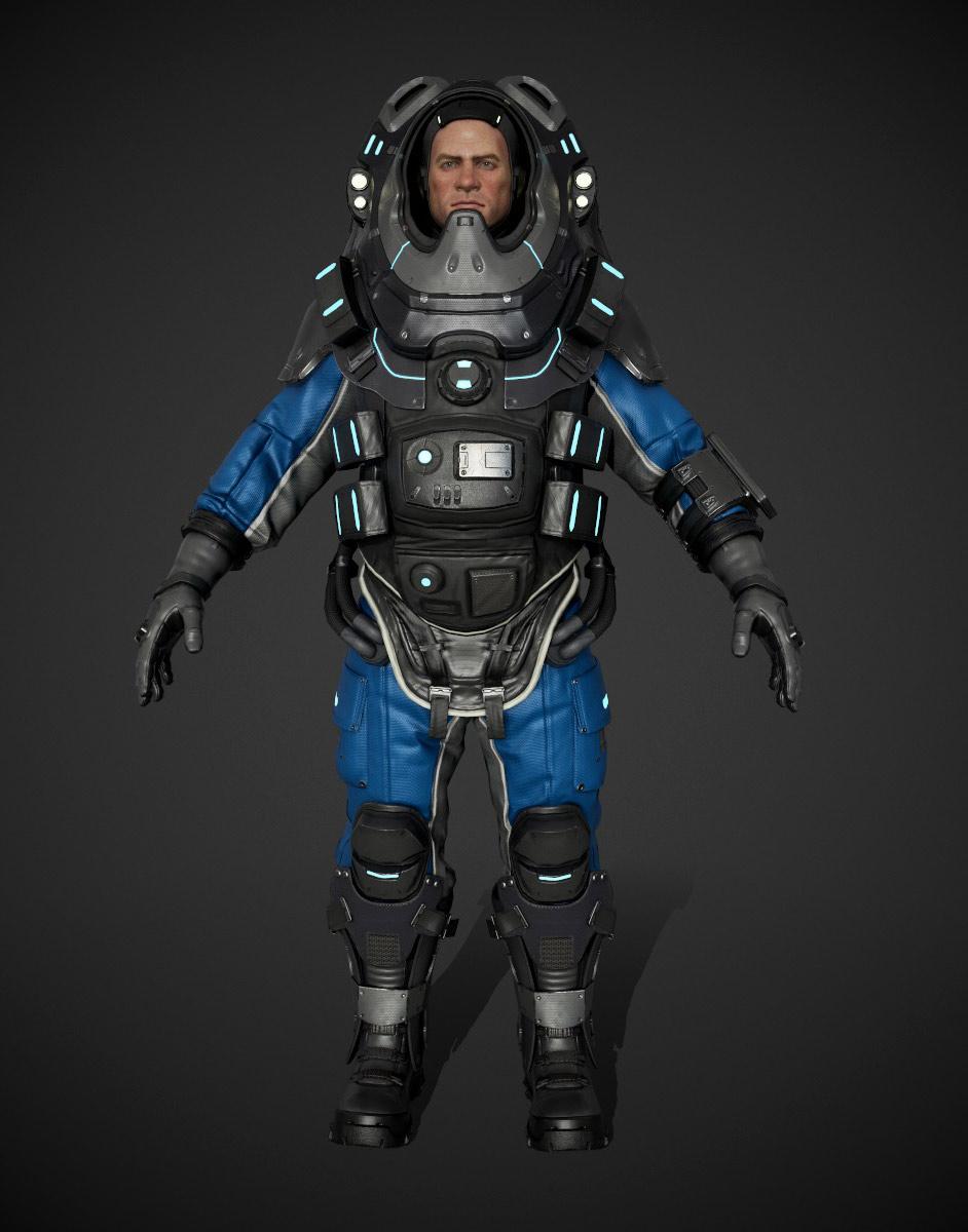 3d model character design space full pose man by mario da rocha
