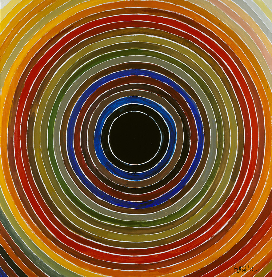 expensive painting spiral by famous indian artist syed haider raza