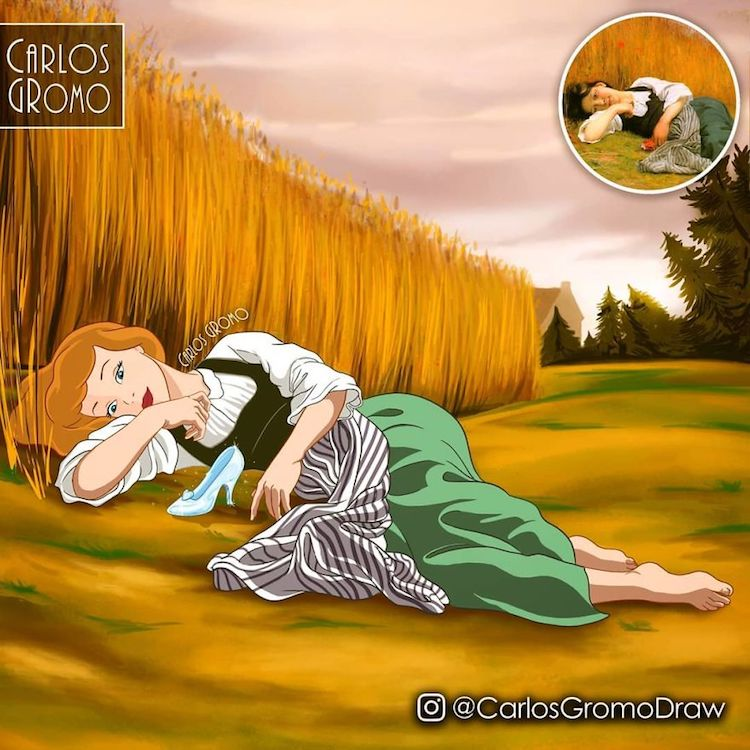 famous painting disney character rest harvest