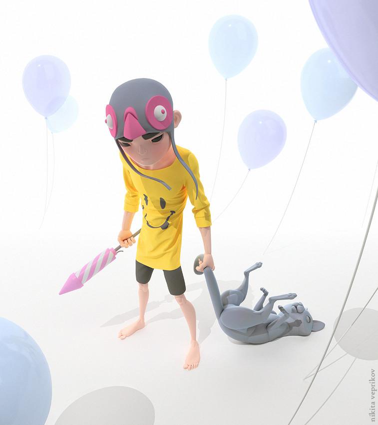 3d model character rocket boy