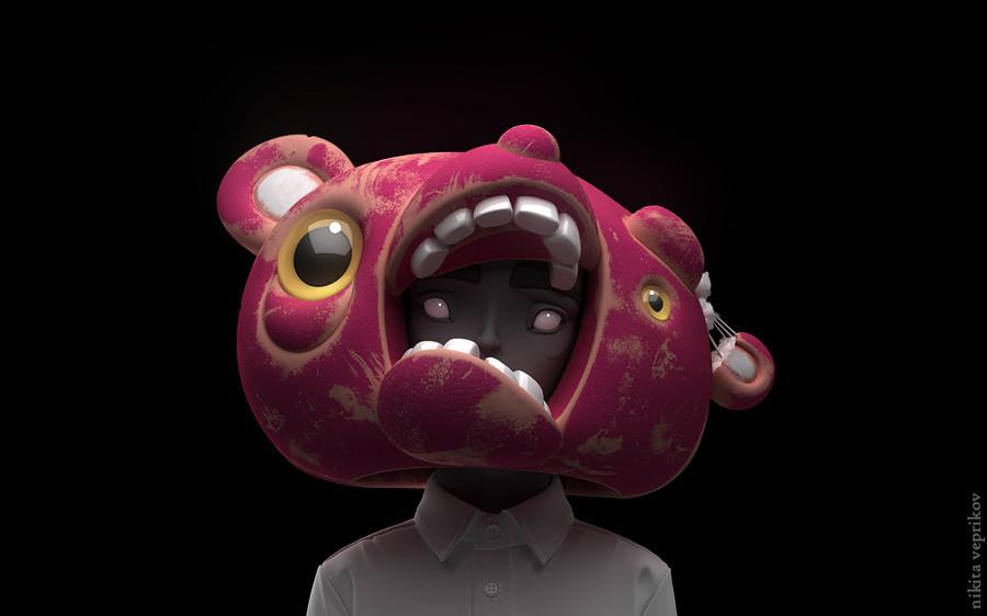 3d model character bear mask