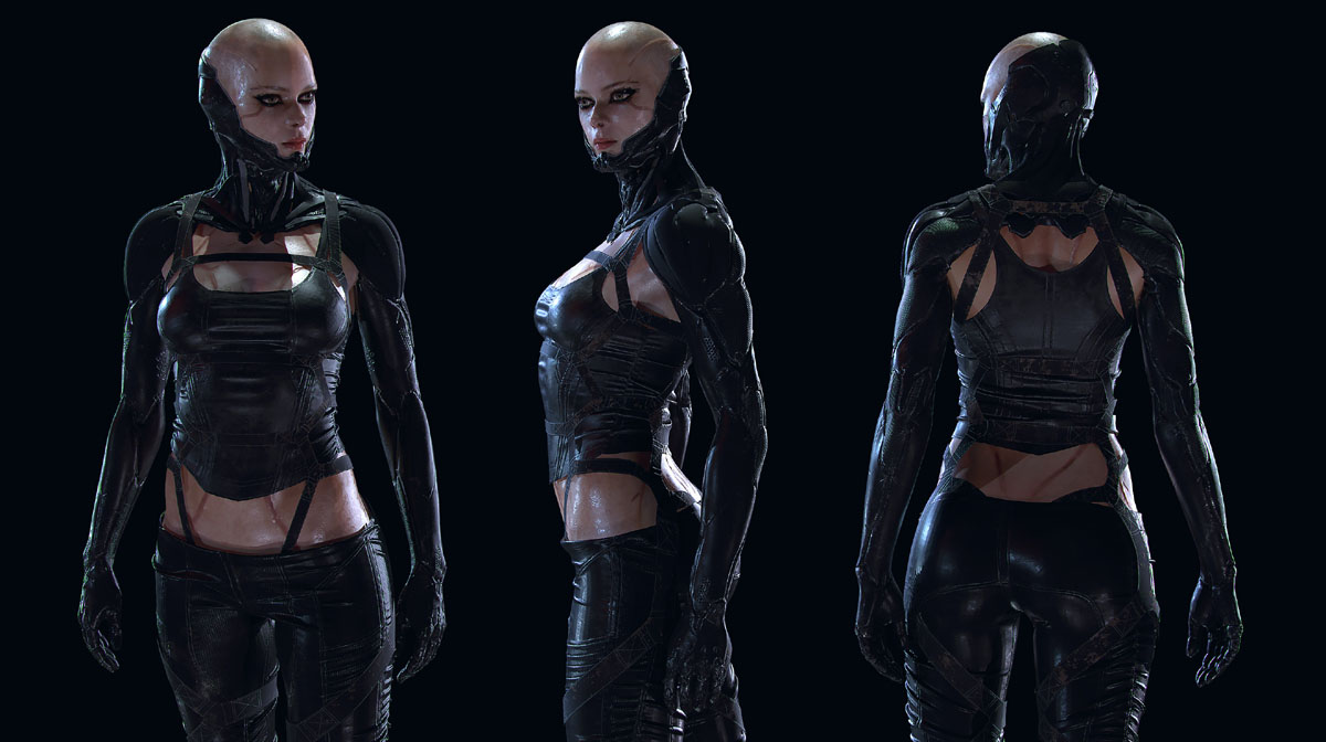 3d model character design woman different poses by soufiane idrassi