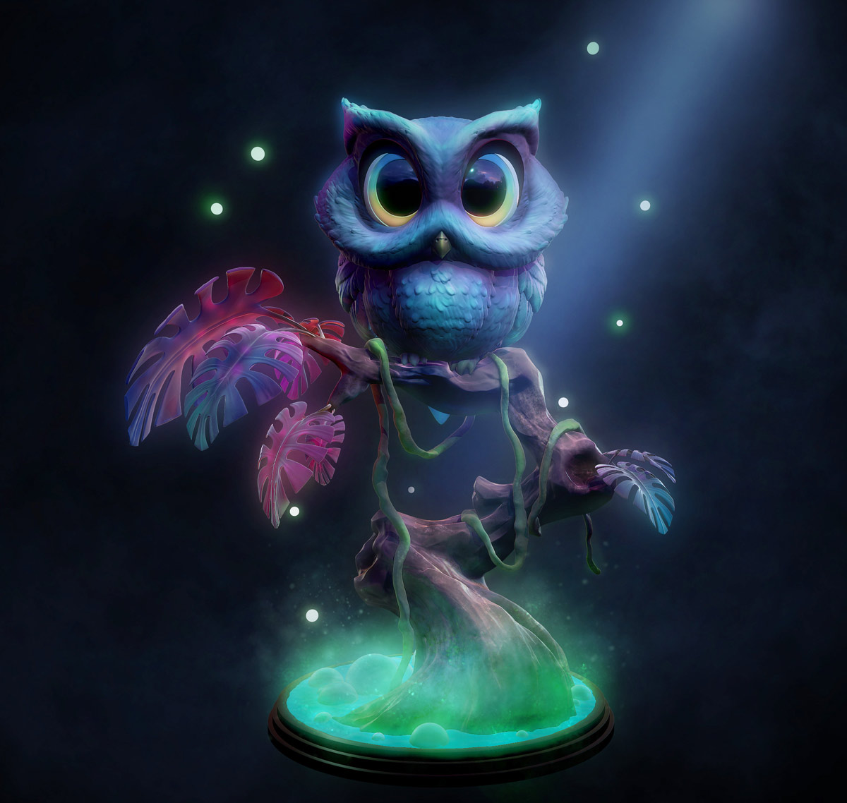 3d model character owl fantasy by michael mao