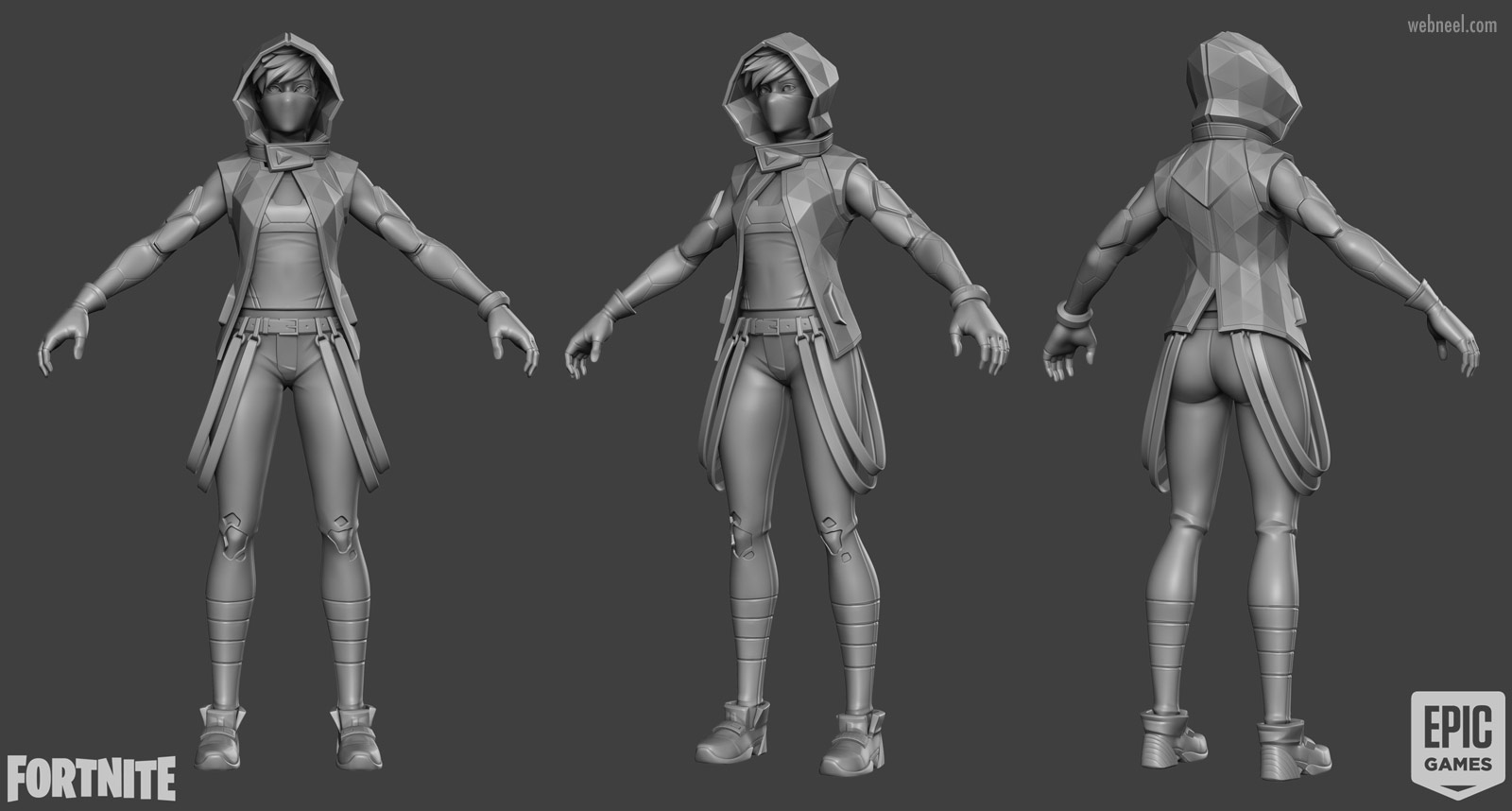 3d game modelling army girl fighter