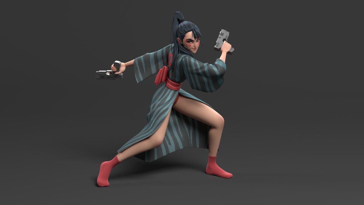 3d model character design gun girl