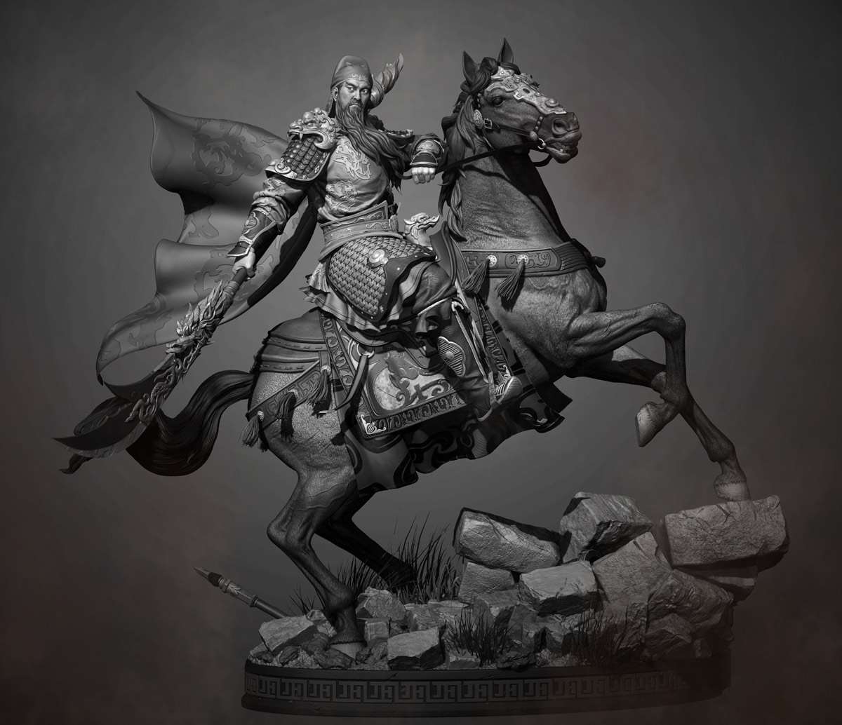 3d model character fighter man horse