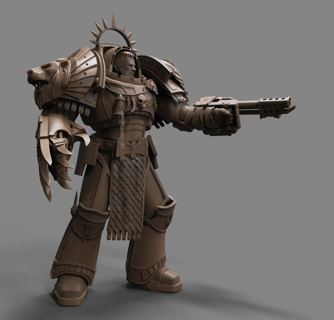 3d model character modelling side pose war hammer