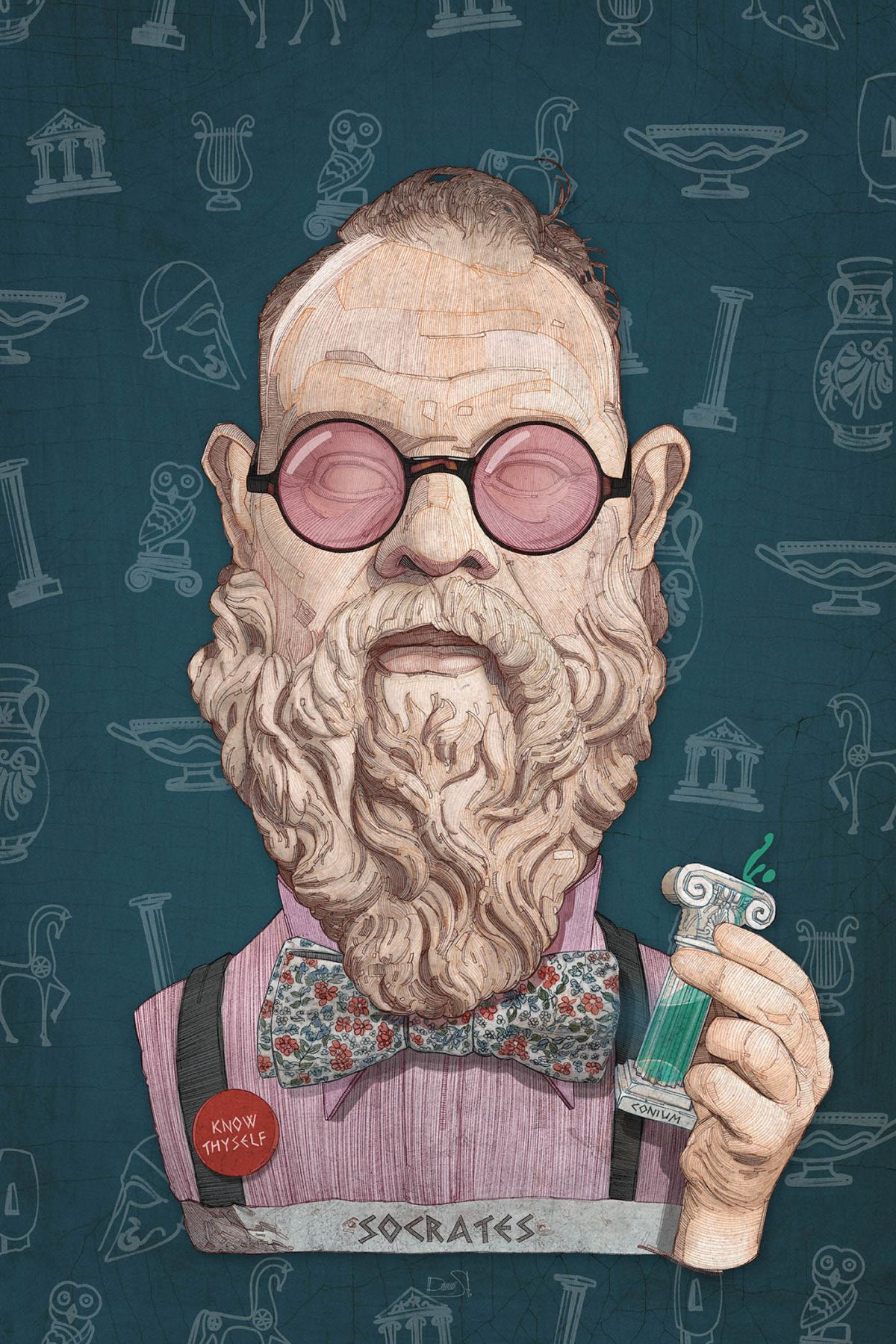caricature illustrations socrates by stavros damos