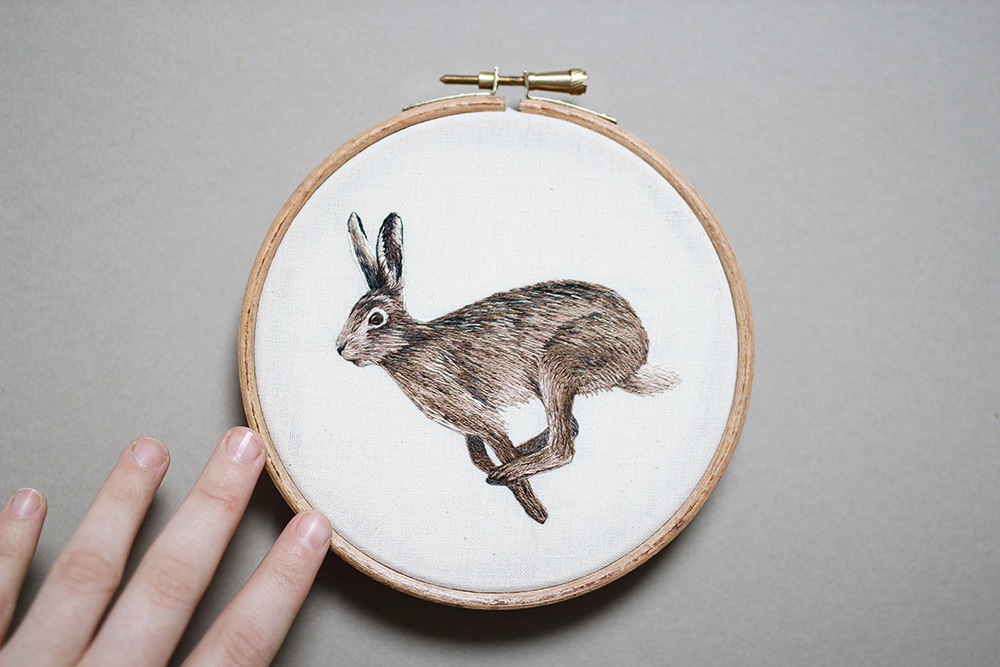 embroidery art rabbit