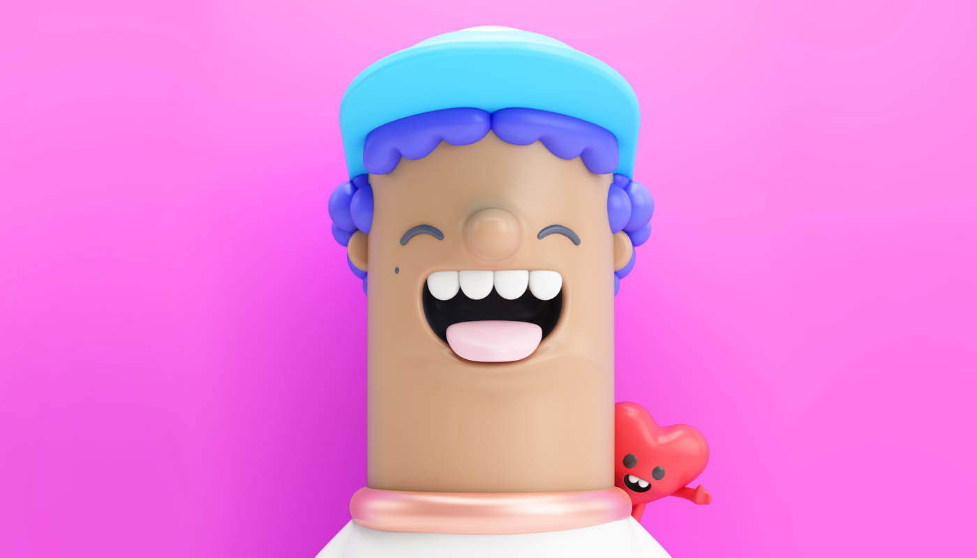funny 3d cartoon character laughing man by fernando parra