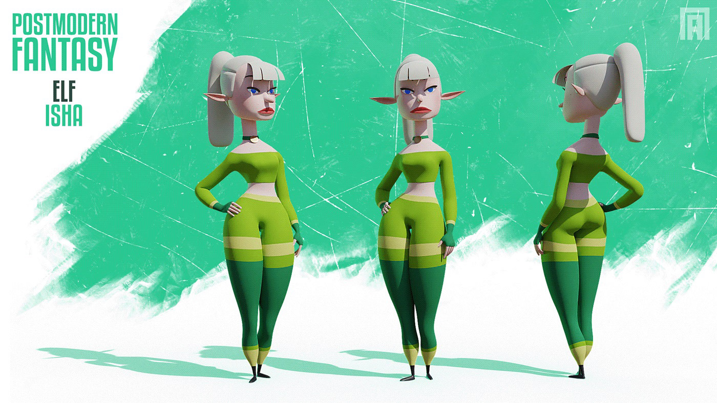funny cartoon 3d model girl by viktor pyatkin