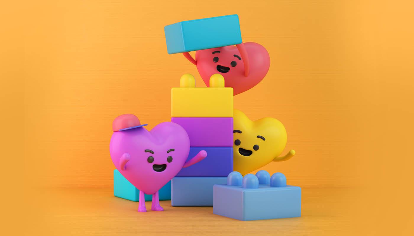 funny 3d cartoon character heart blocks by fernando parra