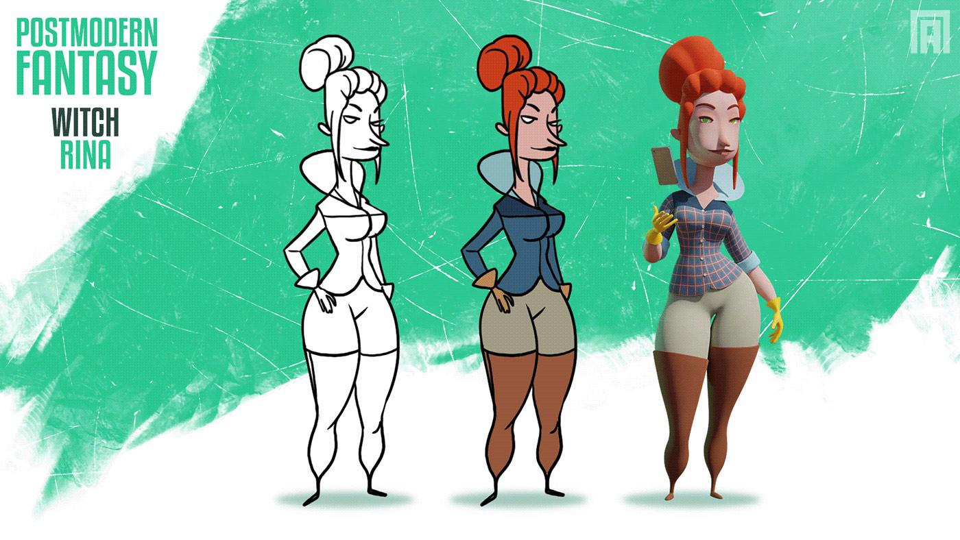 funny cartoon 3d model woman