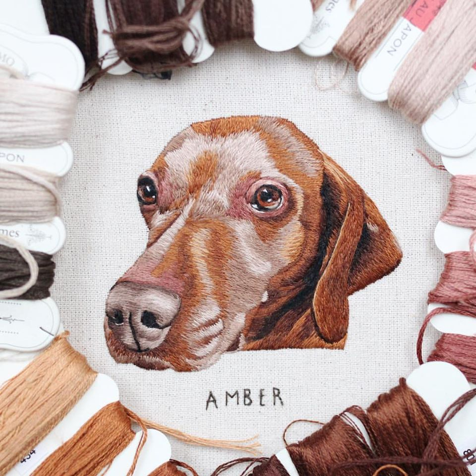 embroidery art amber