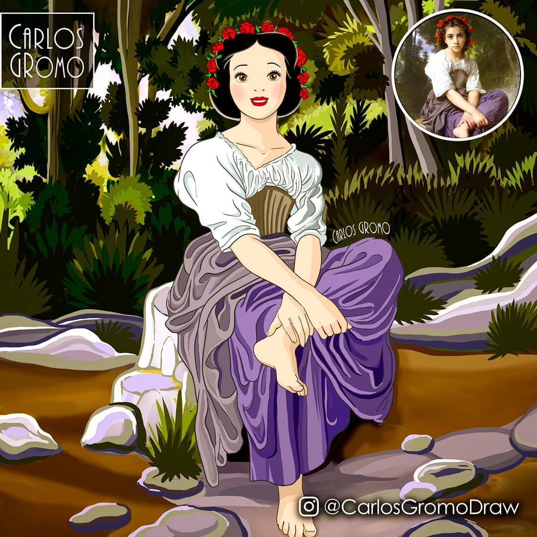 famous painting disney character snow white