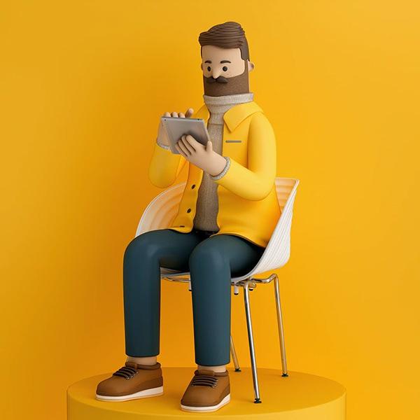 funny 3d cartoon character man by fernando parra