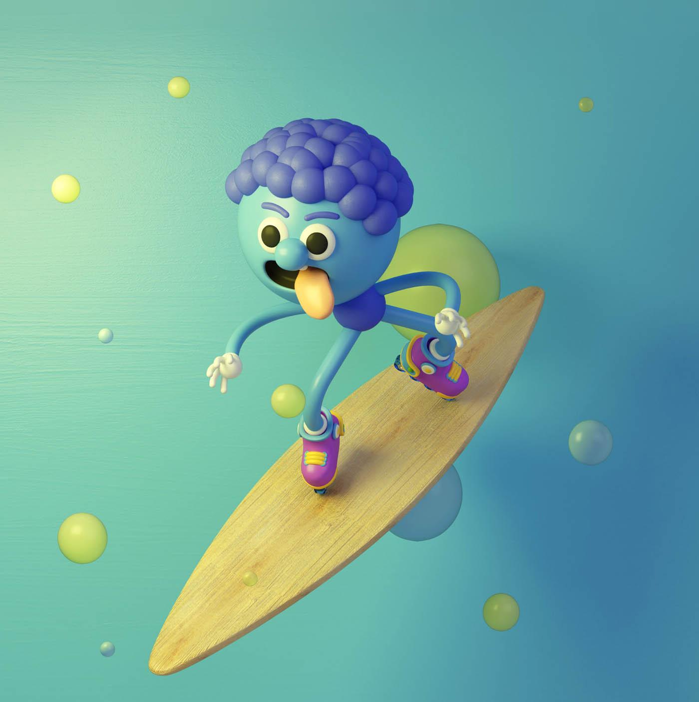 funny 3d cartoon character brain eye