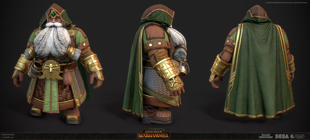 3d model character design dwarf ranger three side