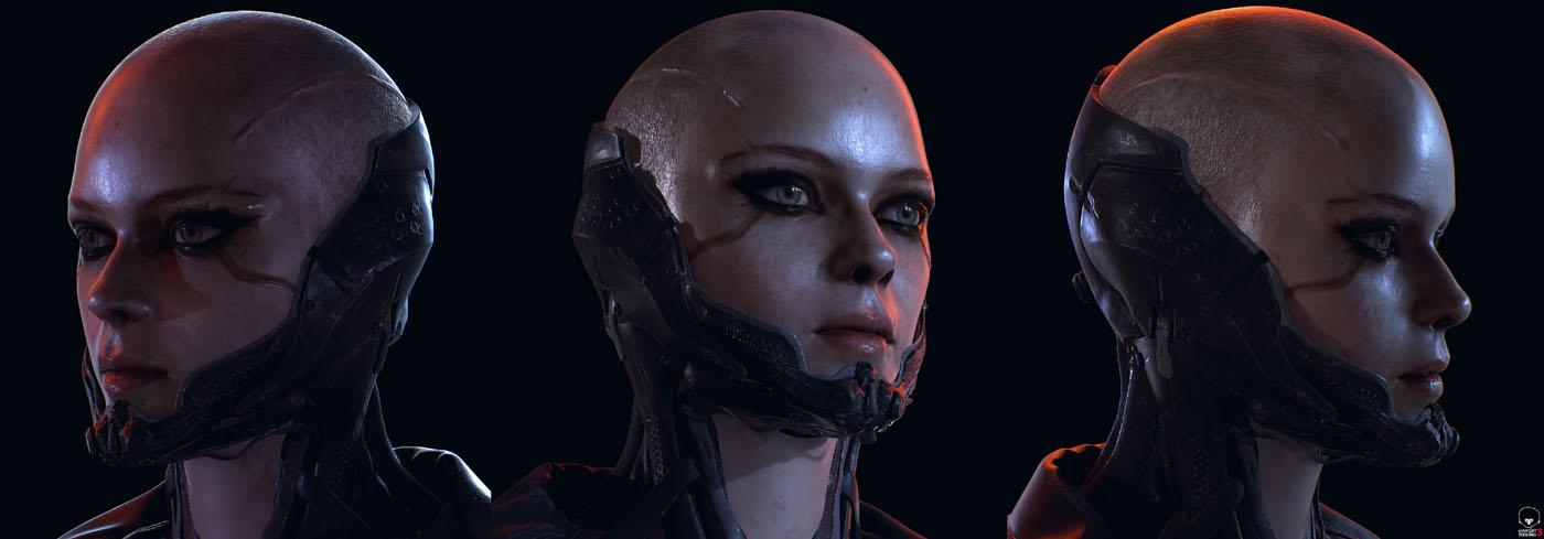 3d model character design woman head