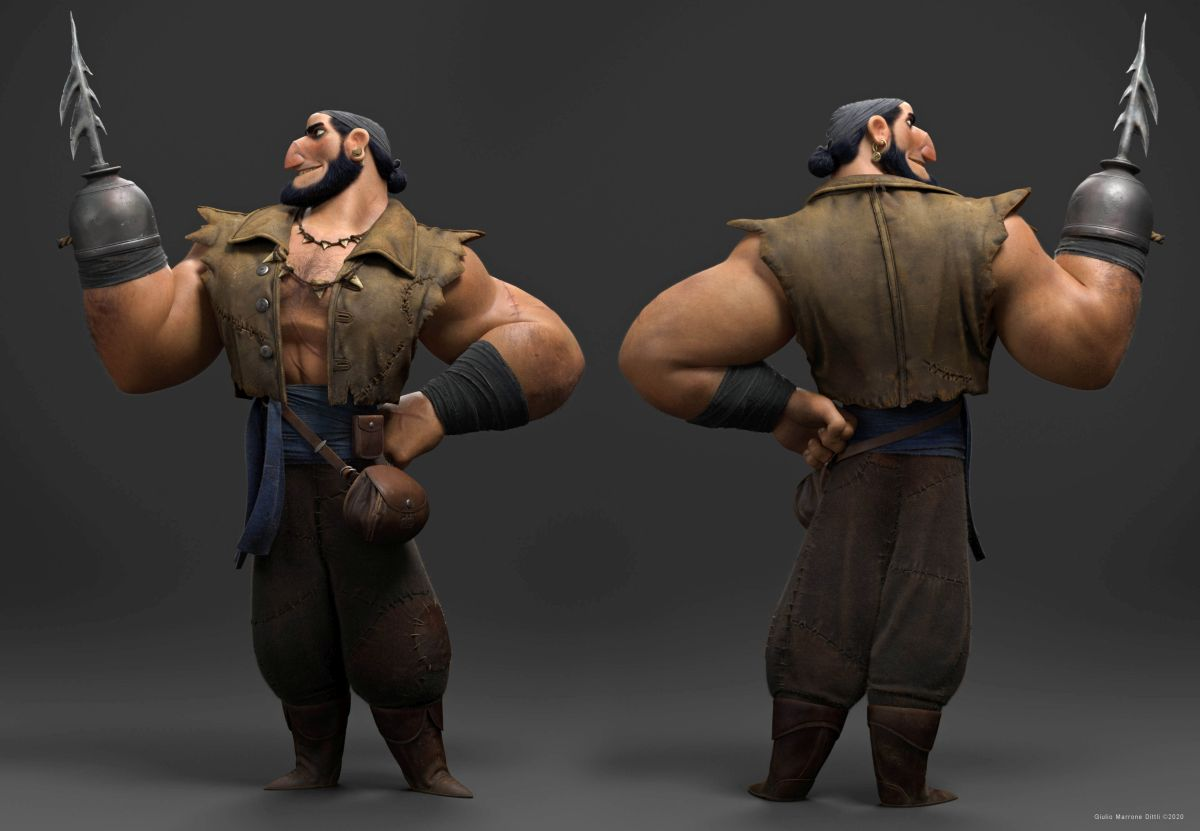 3d model character funny man sailor fighter by giulio marrone dittli