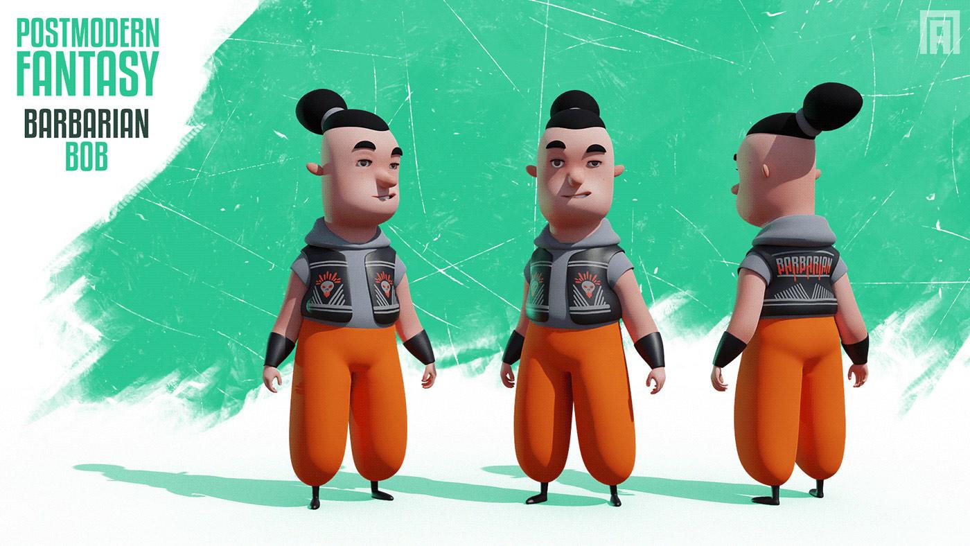 funny cartoon 3d model man by viktor pyatkin