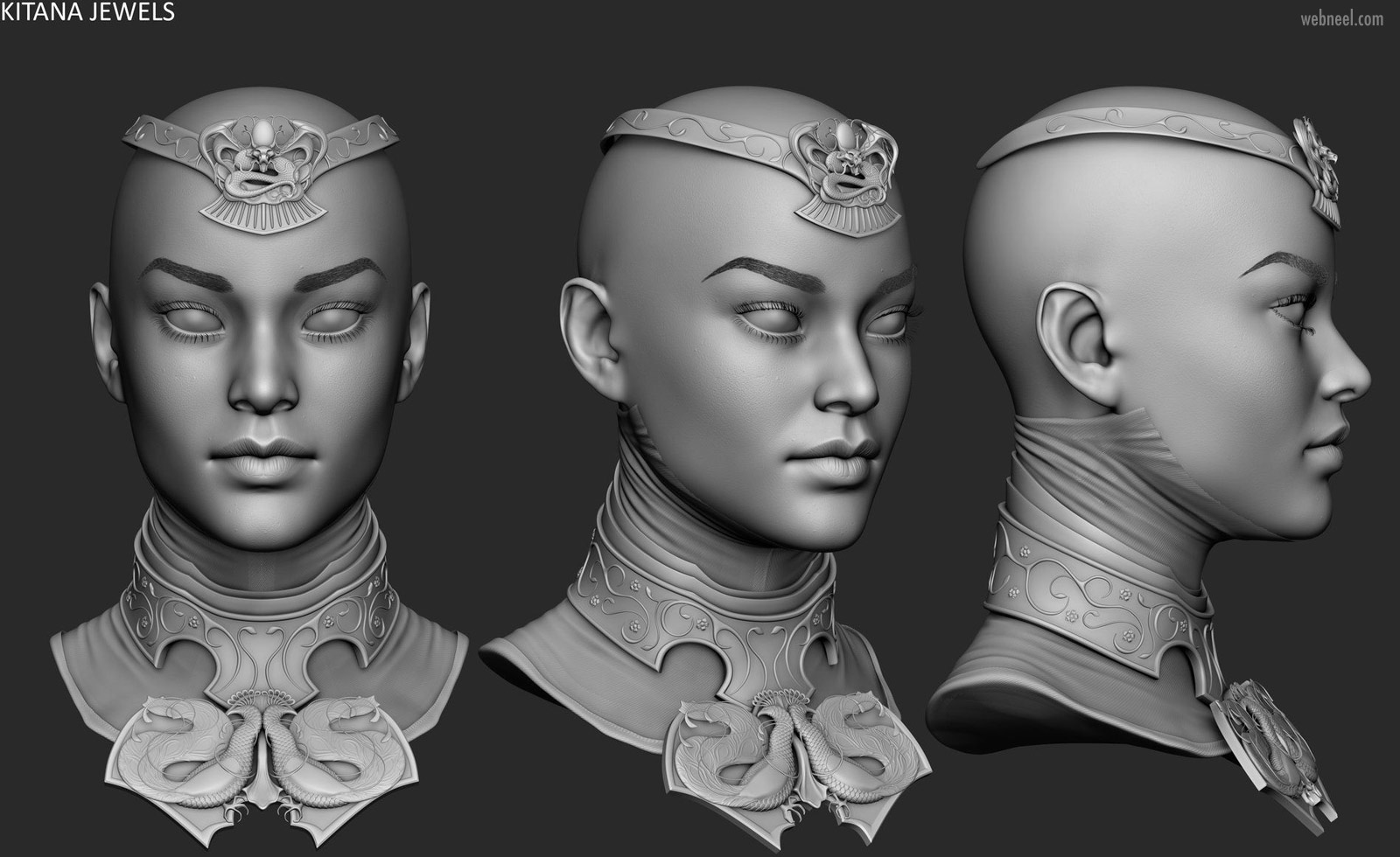 3d modelling woman head kitana