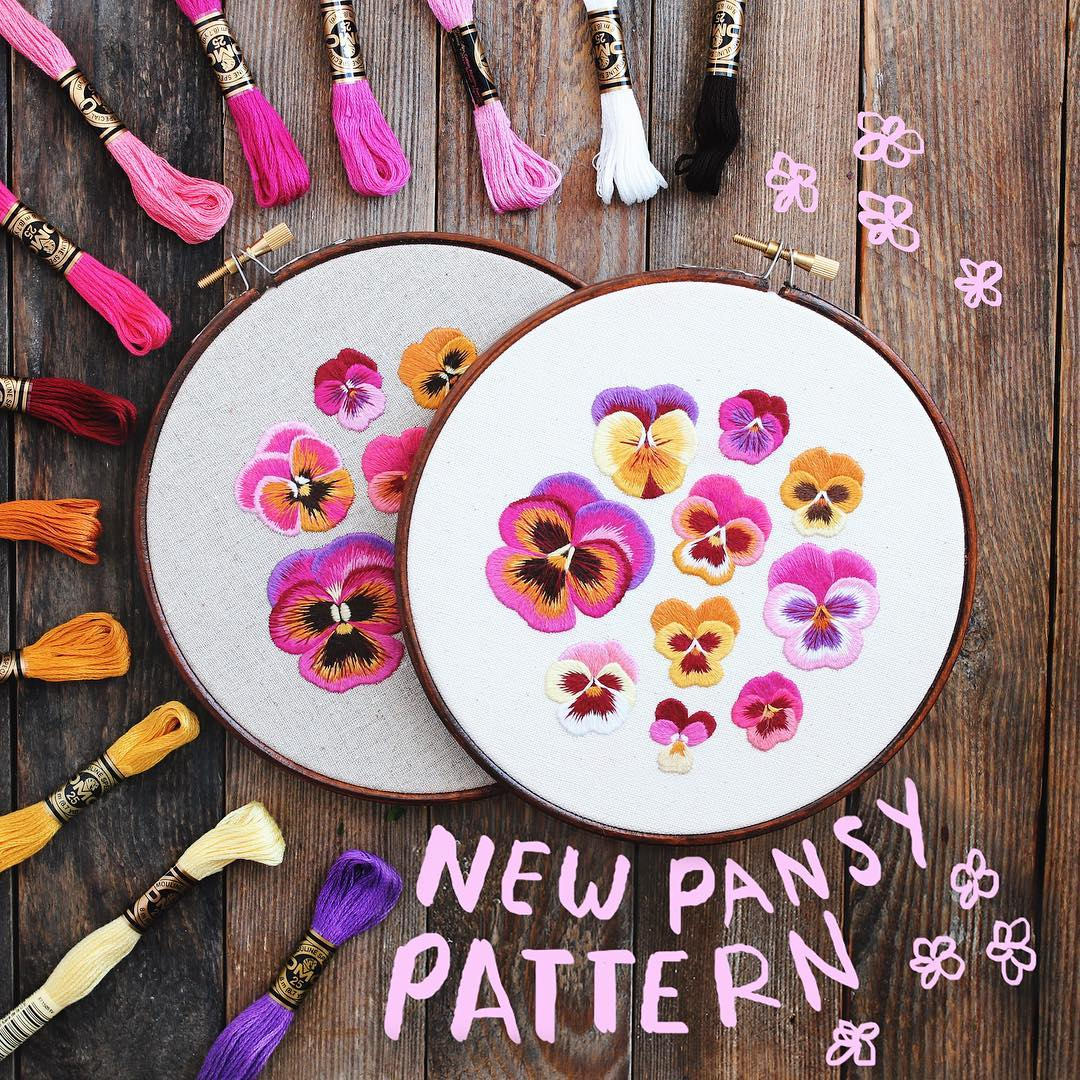 embroidery art pansies