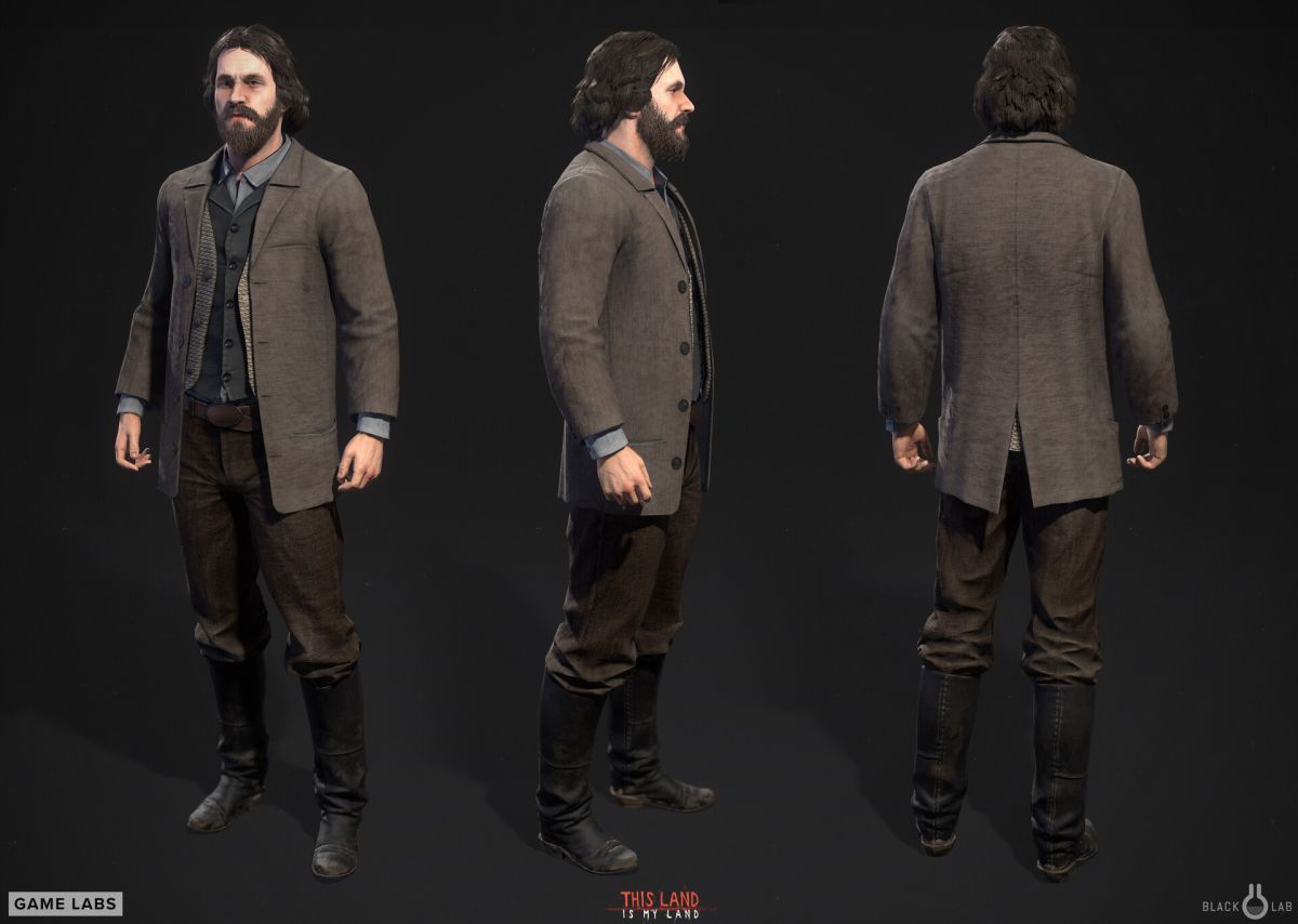 3d model character design man suit three sides