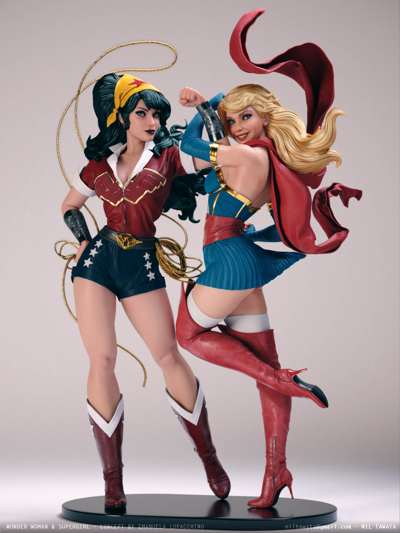 3d model character supergirl wonder woman