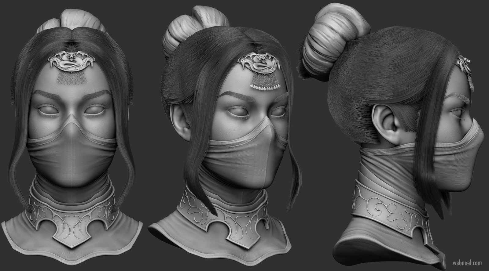 3d modelling woman head mortal komabat princess