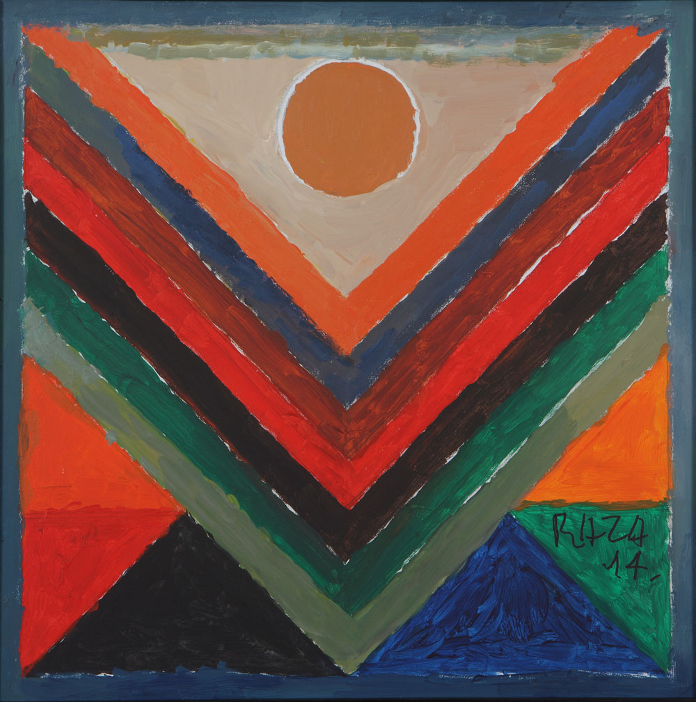 expensive painting geometric by famous indian artist syed haider raza
