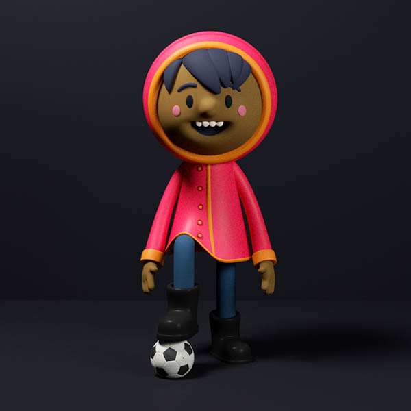 funny 3d cartoon character boy football by fernando parra