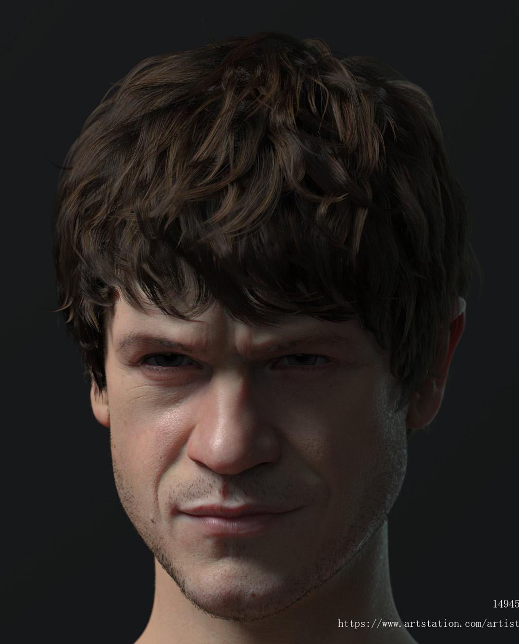 3d model character man head by michael mao