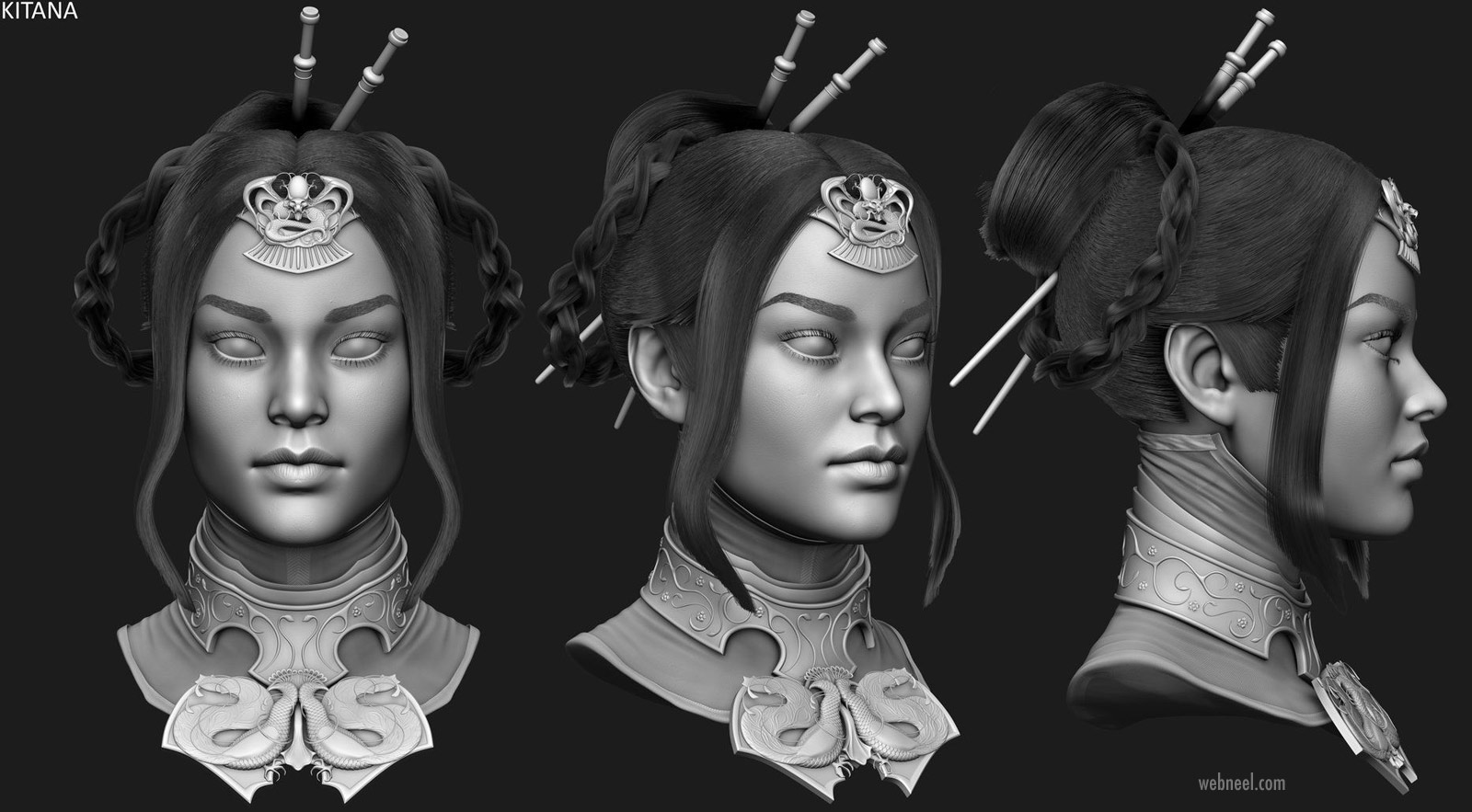 3d modelling woman head princess kitana