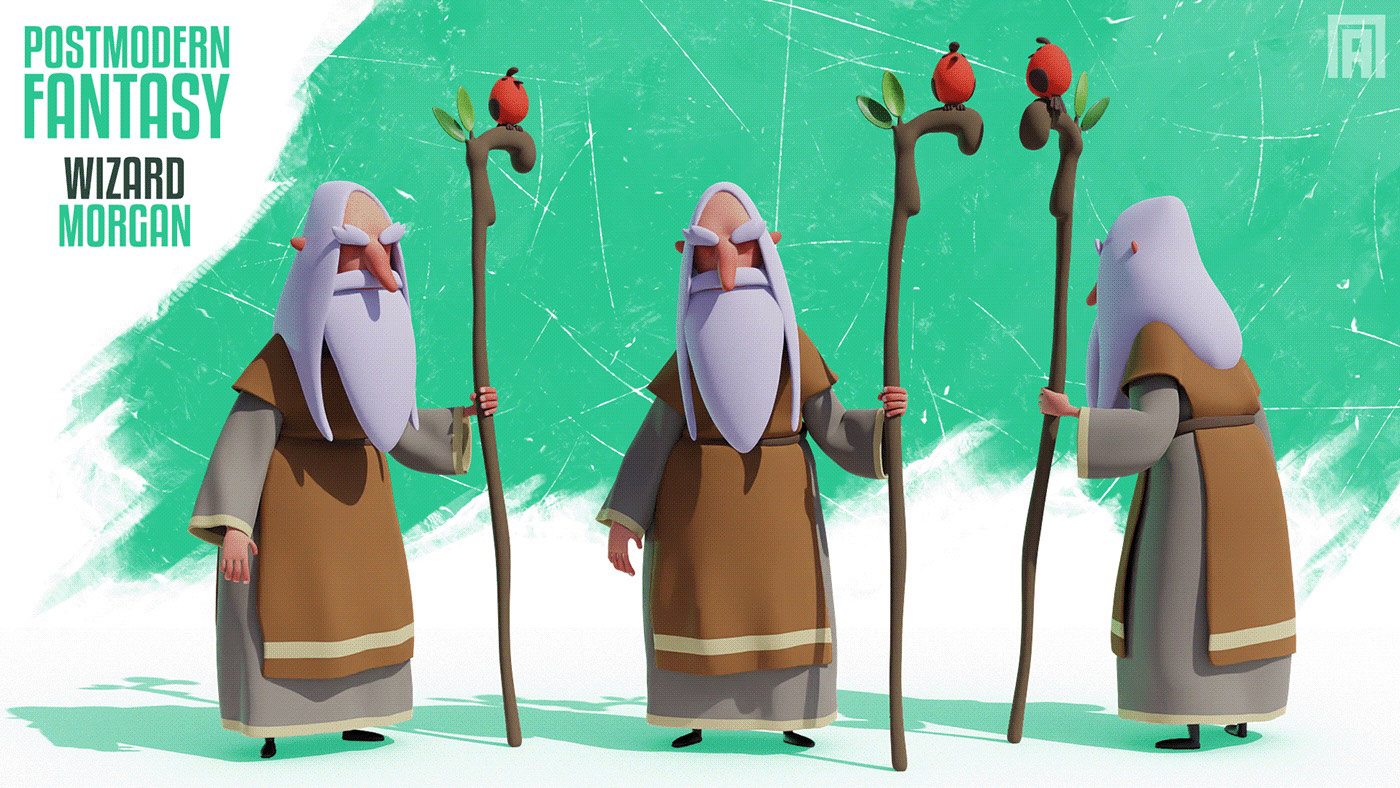 funny cartoon 3d model wizard by viktor pyatkin