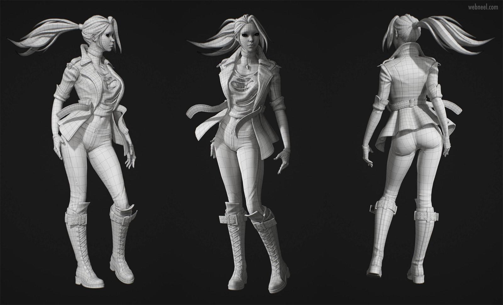 3d girl modelling wireframe