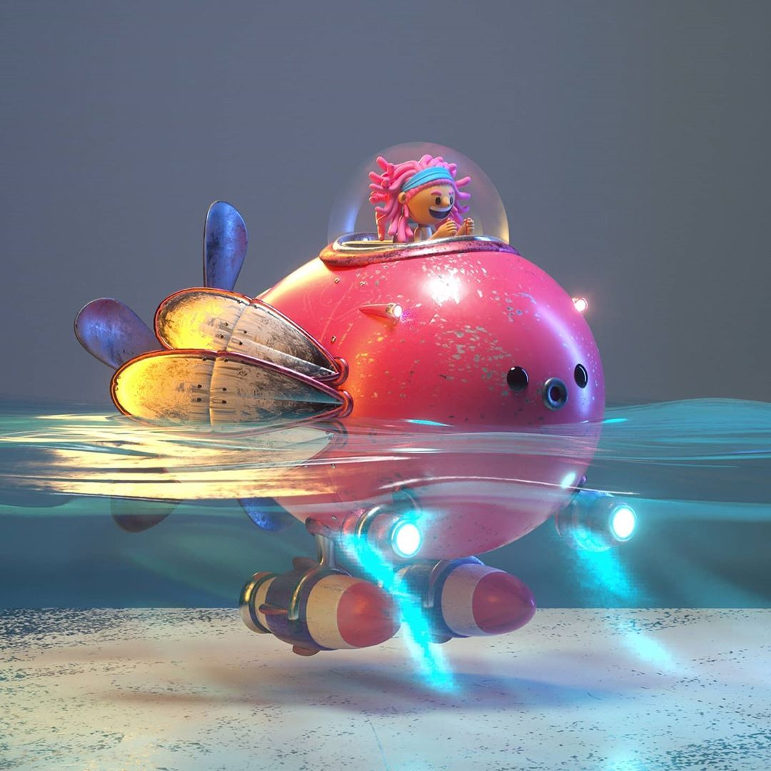 funny 3d cartoon character under sea