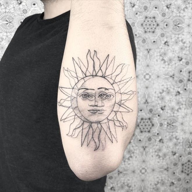 optical illusion tattoo sun