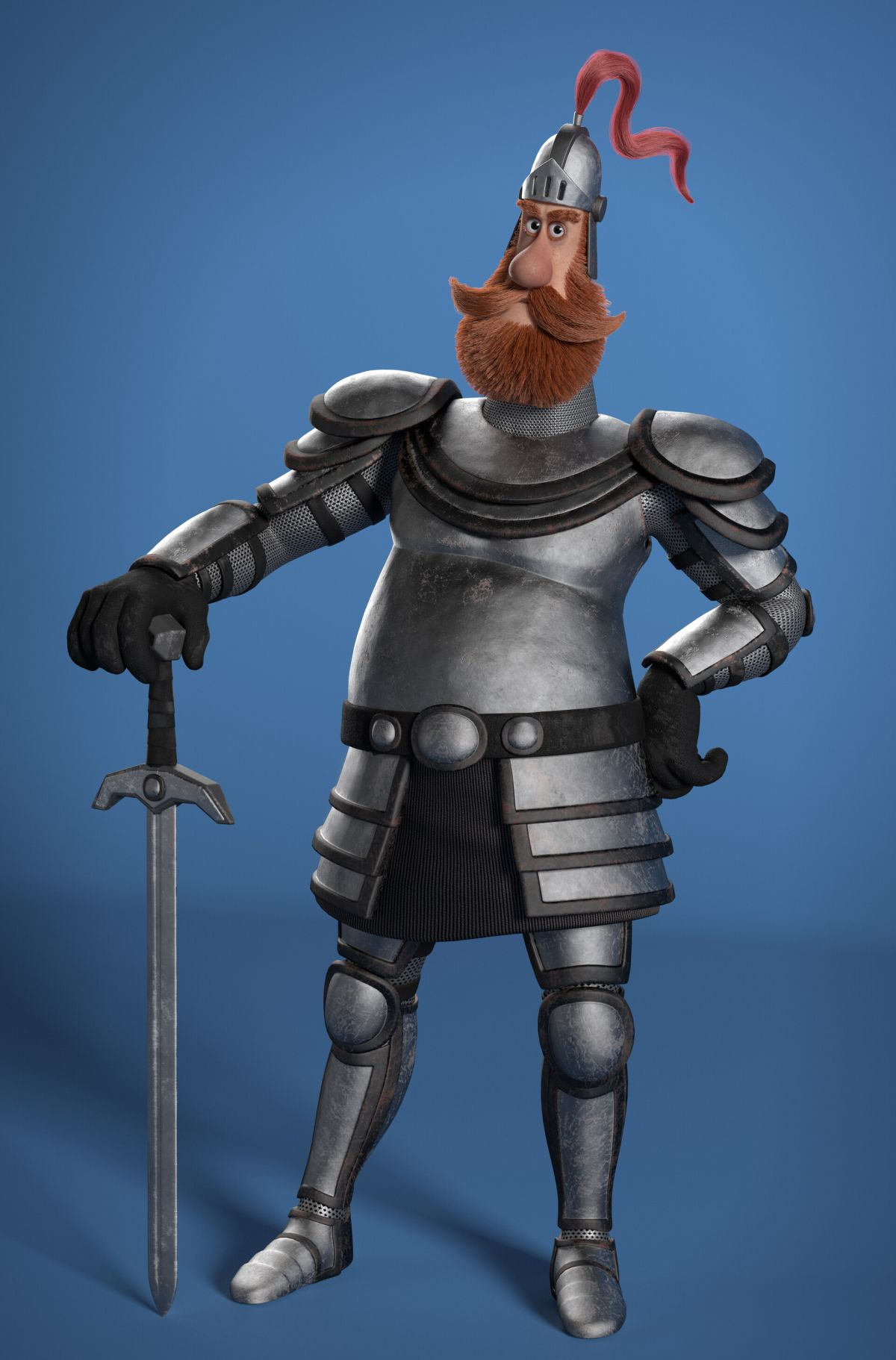 3d model character design chubby knight