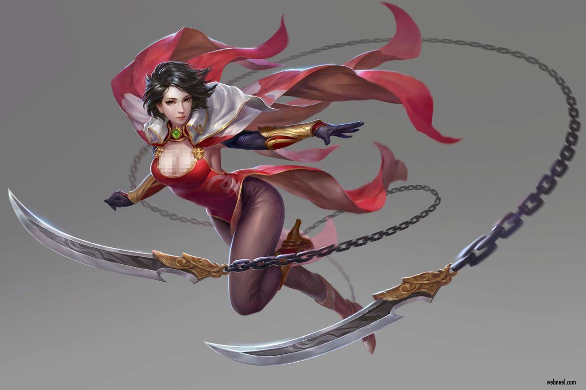 3d model character design fantasy woman warrior by song