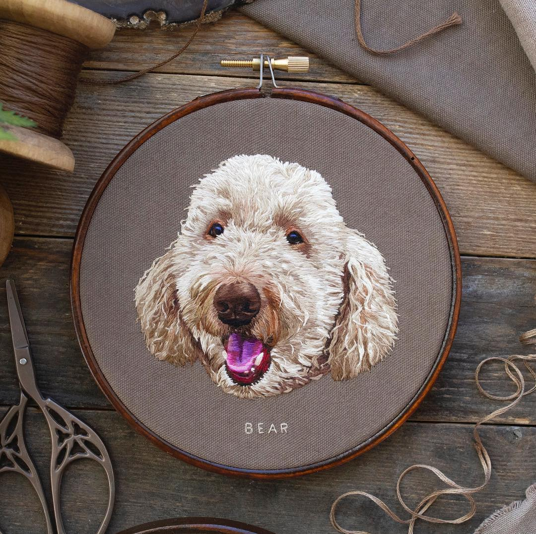 embroidery art dog