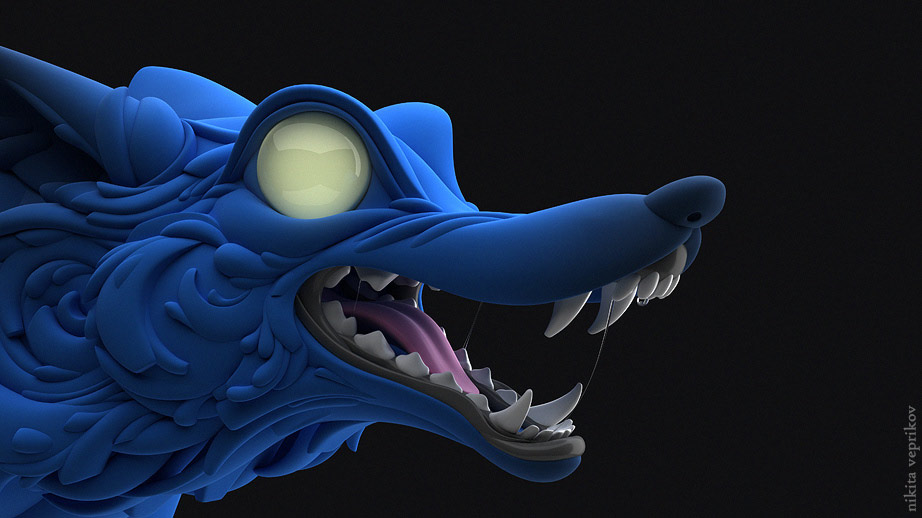 3d model character wolf