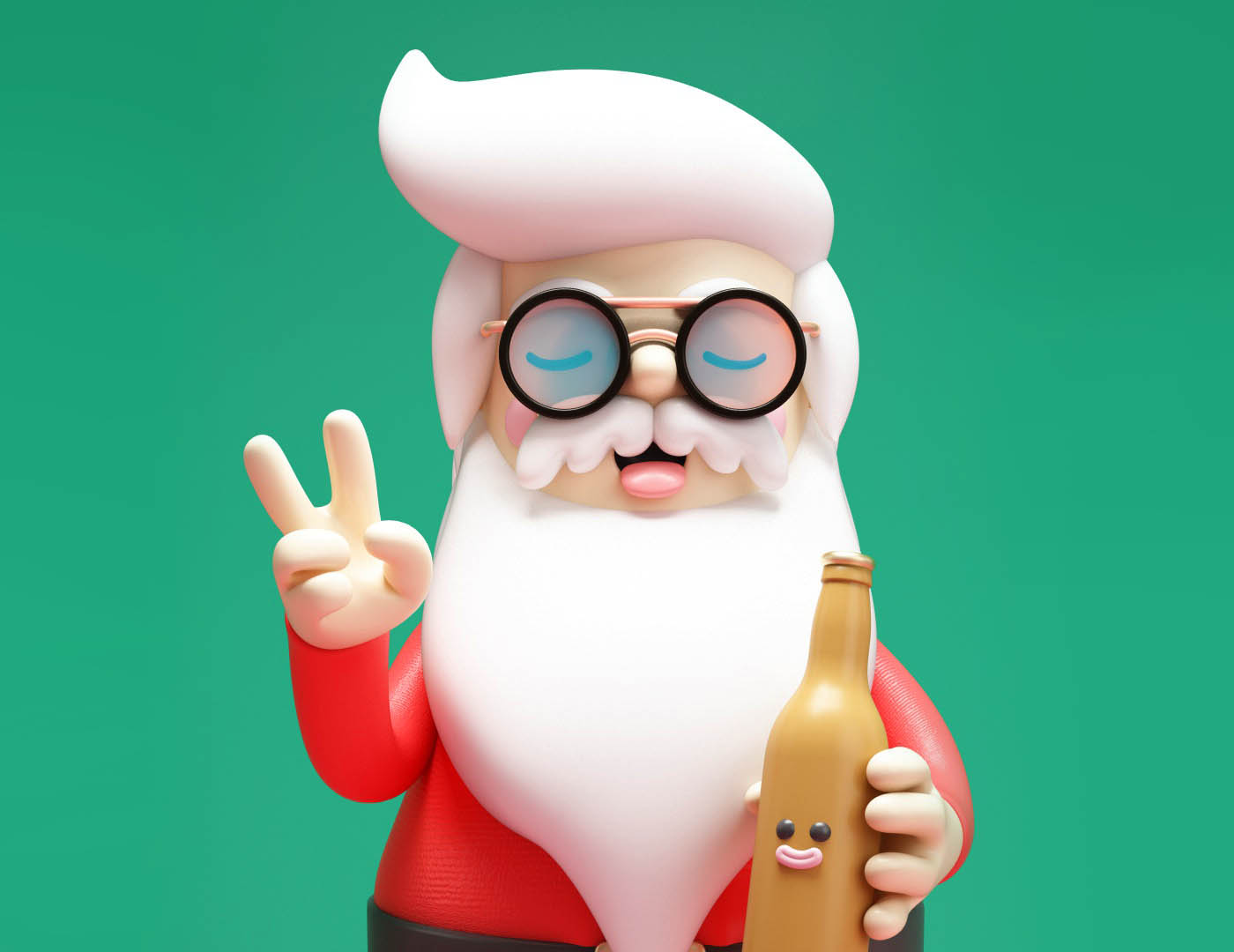 funny 3d cartoon character santa