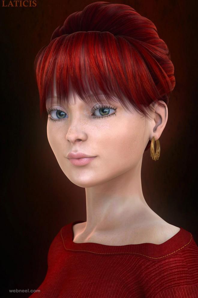 3d girls woman model laticis